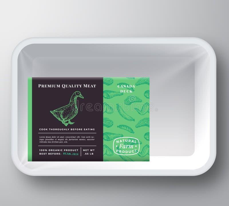 Copertura del contenitore di Duck Abstract Vector Plastic Tray Disposizione premio dell'etichetta di progettazione di imballaggio illustrazione vettoriale