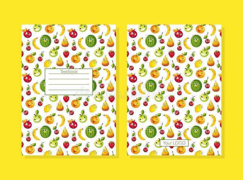 Copertura del manuale decorata con l'illustrazione senza cuciture di vettore del modello dei caratteri divertenti della frutta illustrazione vettoriale