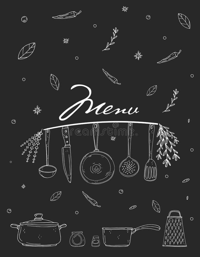 Copertura del menu con articolo da cucina, la spezia e l'iscrizione disegnati a mano su una lavagna illustrazione vettoriale