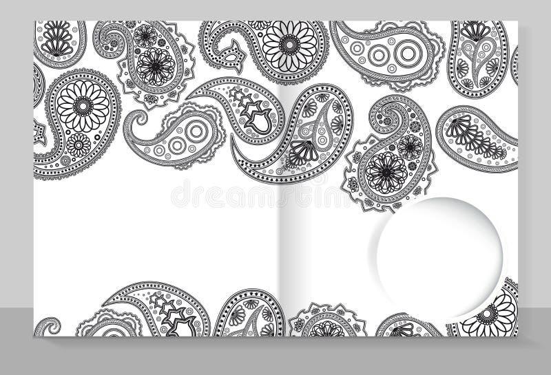 Copertura del modello di un quaderno con una progettazione d'avanguardia: Modello di Paisley illustrazione di stock