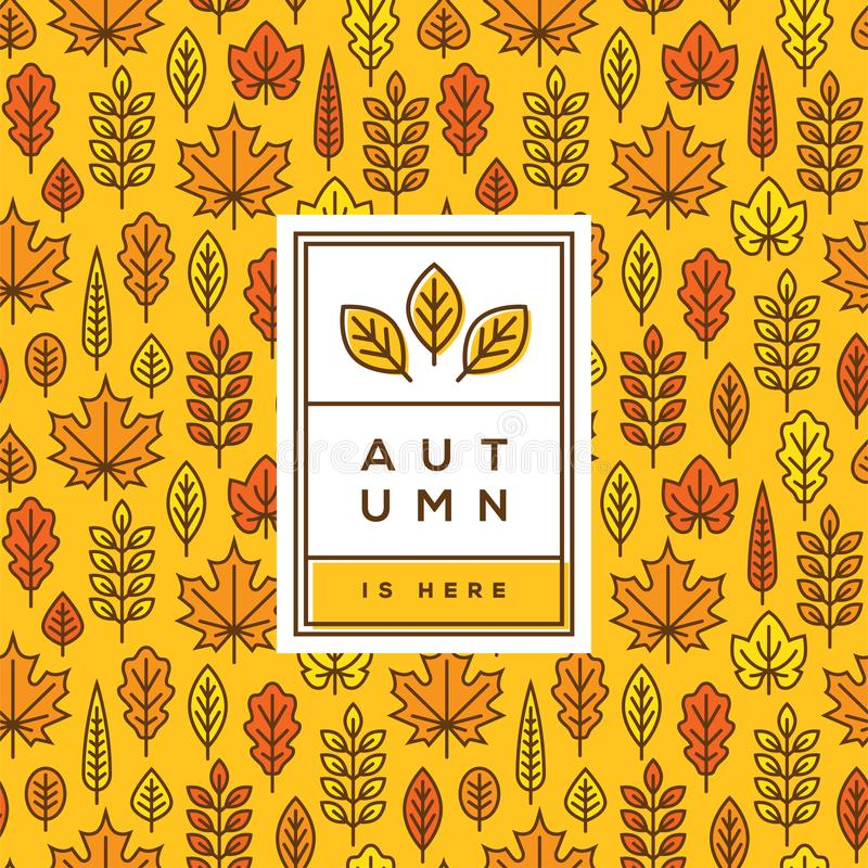 Copertura di autunno, insegna o progettazione luminosa del manifesto illustrazione vettoriale