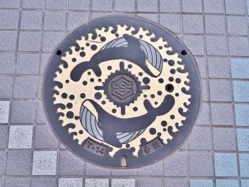 Copertura di botola della città del Kochi, Giappone fotografie stock