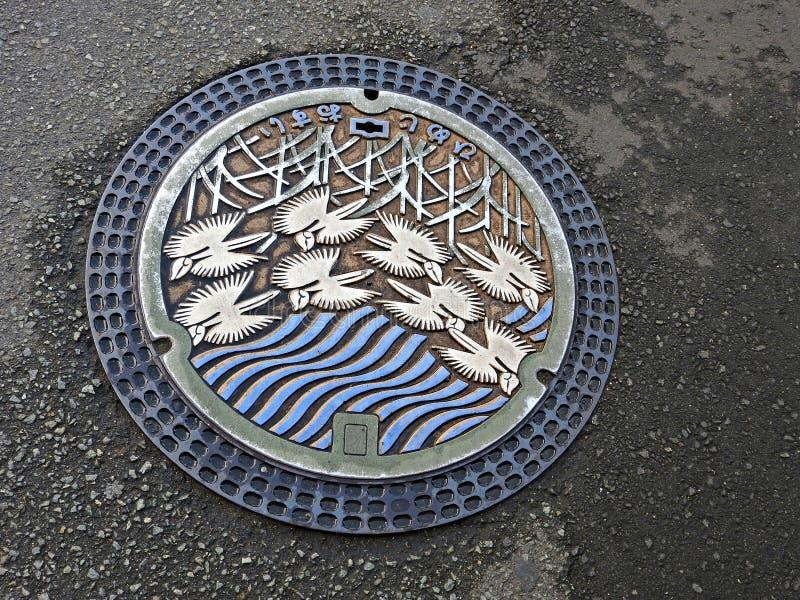 Copertura di botola, Himeji, Giappone fotografie stock libere da diritti
