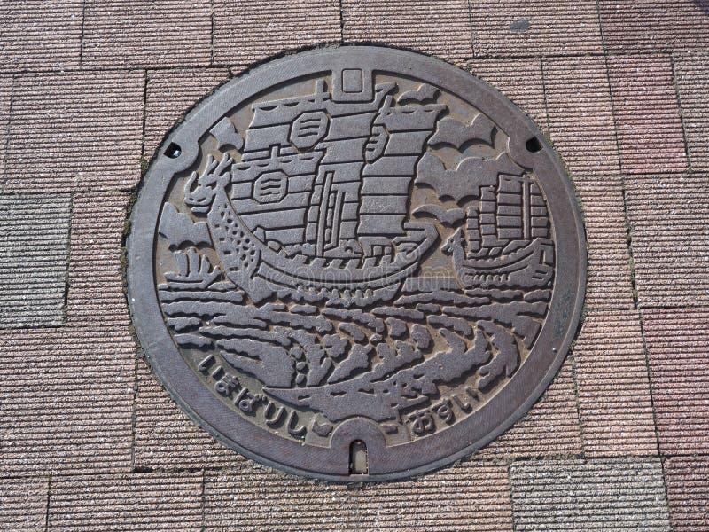 Copertura di botola in Imabari, prefettura di Ehime, Giappone immagine stock libera da diritti