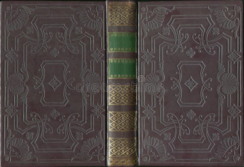 Copertura di cuoio d'annata antica del libro aperto fotografie stock libere da diritti