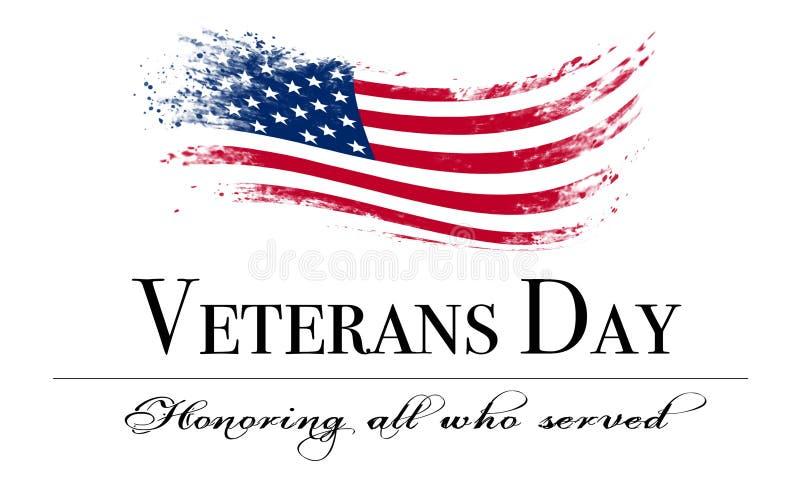 Copertura di giornata dei veterani con la bandiera royalty illustrazione gratis