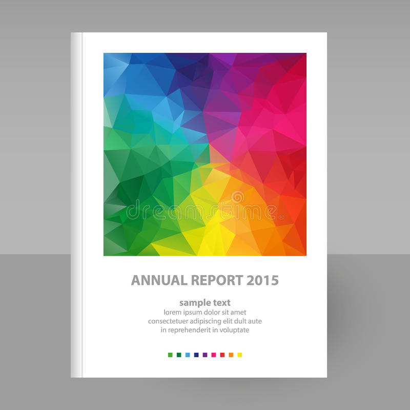 Copertura di vettore del rapporto annuale con progettazione del triangolo del poligono di spettro di colore pieno illustrazione vettoriale