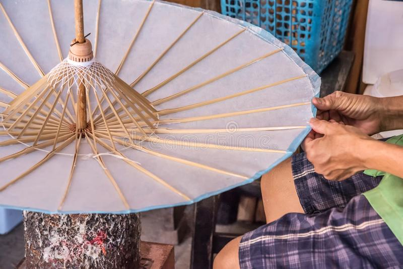 Copertura e colla sull'ombrello fotografia stock