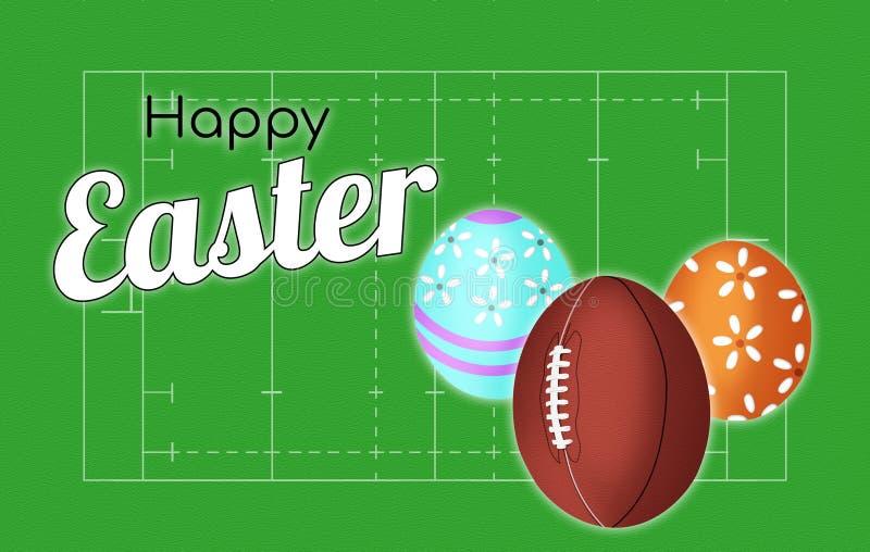 Copertura felice della cartolina d'auguri di Pasqua della congratulazione di rugby sui precedenti del campo e con la palla sotto  illustrazione di stock