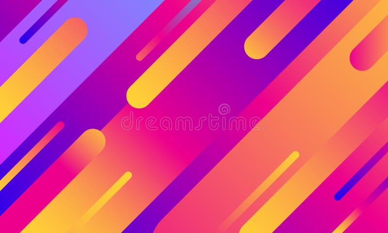 Copertura geometrica Composizione variopinta nelle bande di pendenza Colore blu al neon moderno fresco Forme fluide astratte Post royalty illustrazione gratis