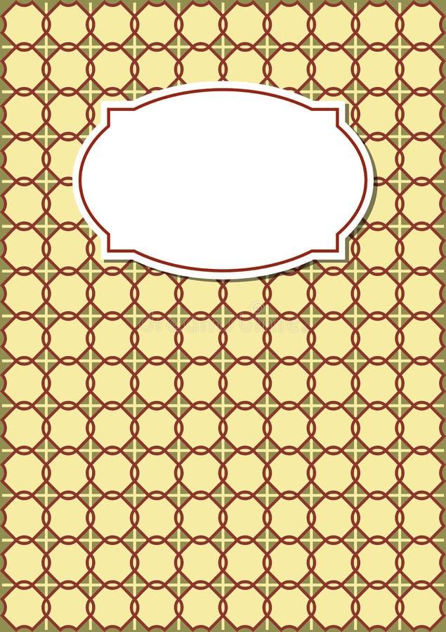 Copertura nostalgica del quaderno nella progettazione beige con i modelli geometrici con la retro etichetta in bianco royalty illustrazione gratis