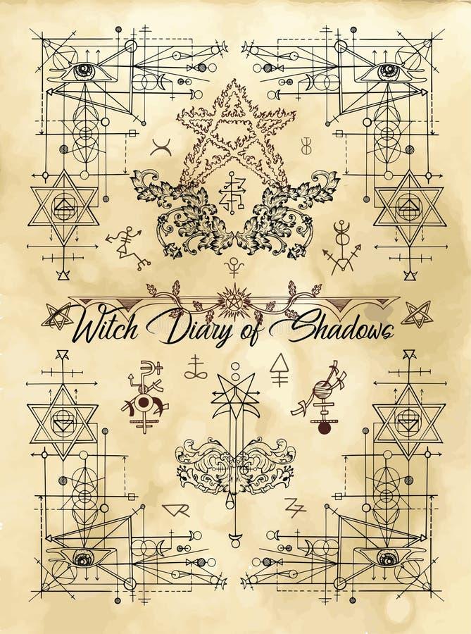 Copertura per il diario della strega delle ombre con la geometria sacra e simboli e segni esoterici illustrazione di stock