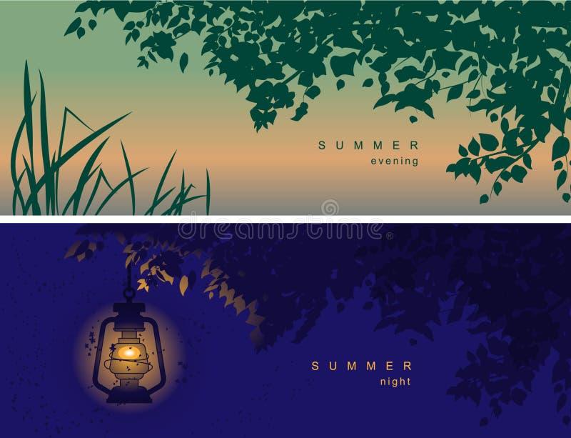 Copertura per le reti sociali, intestazione di vettore con un umore di estate, con l'immagine della natura illustrazione di stock