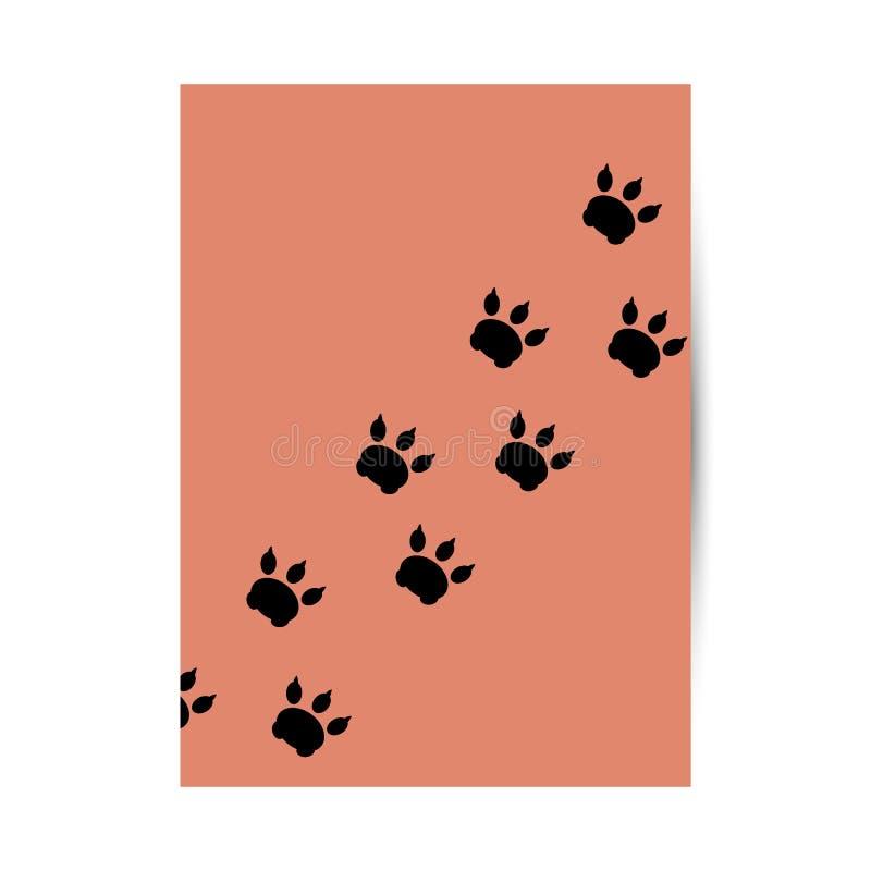 Copertura per un libro, un taccuino e un diario con le tracce di animale illustrazione vettoriale