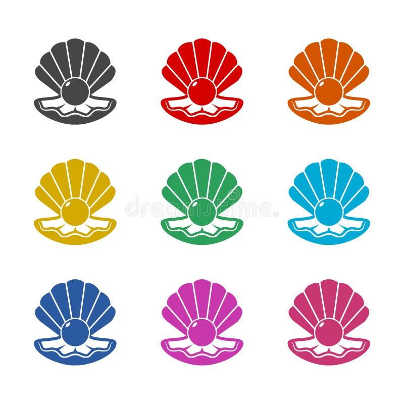 Coperture aperte con un'icona della perla o un logo, insieme di colore illustrazione vettoriale