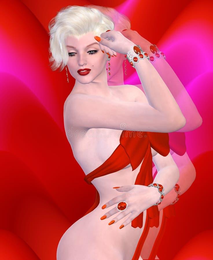 Coperture bionde sexy della bomba che portano un vestito rosso dall'arco contro un fondo astratto rosso royalty illustrazione gratis