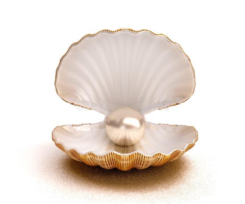 Coperture del ‹del †del ‹del †del mare con la perla fotografie stock