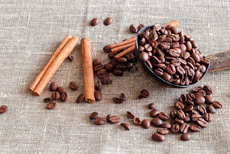 Coperture della noce di cocco con i chicchi di caffè, l'anice e la cannella di bastoni sacco fotografia stock libera da diritti