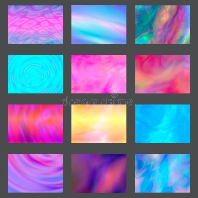 Coperture liquide della spruzzata di colore messe L'insieme di marmo moderno schizza Progetti gli elementi per il manifesto, la c illustrazione di stock