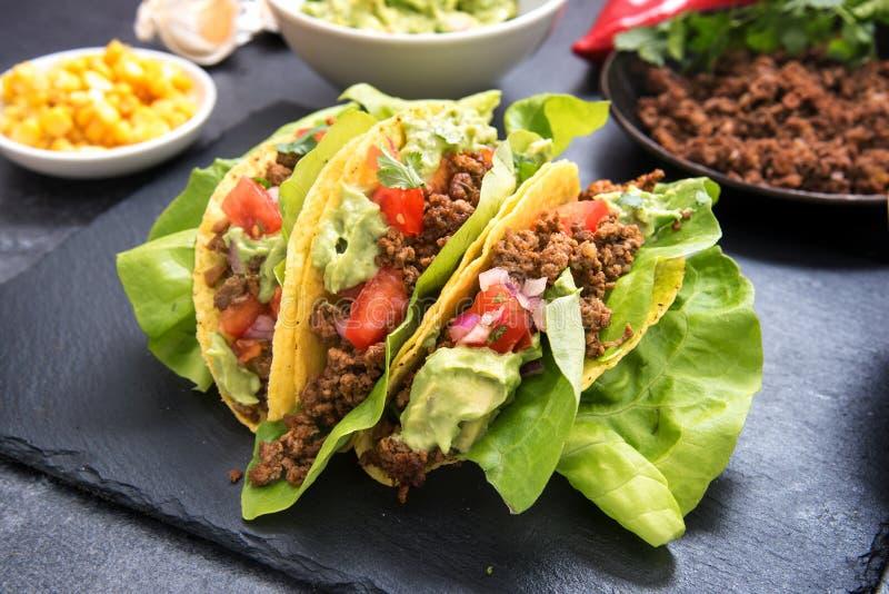 Coperture messicane del cereale del taco farcite con carne tritata fritta, pomodoro immagini stock