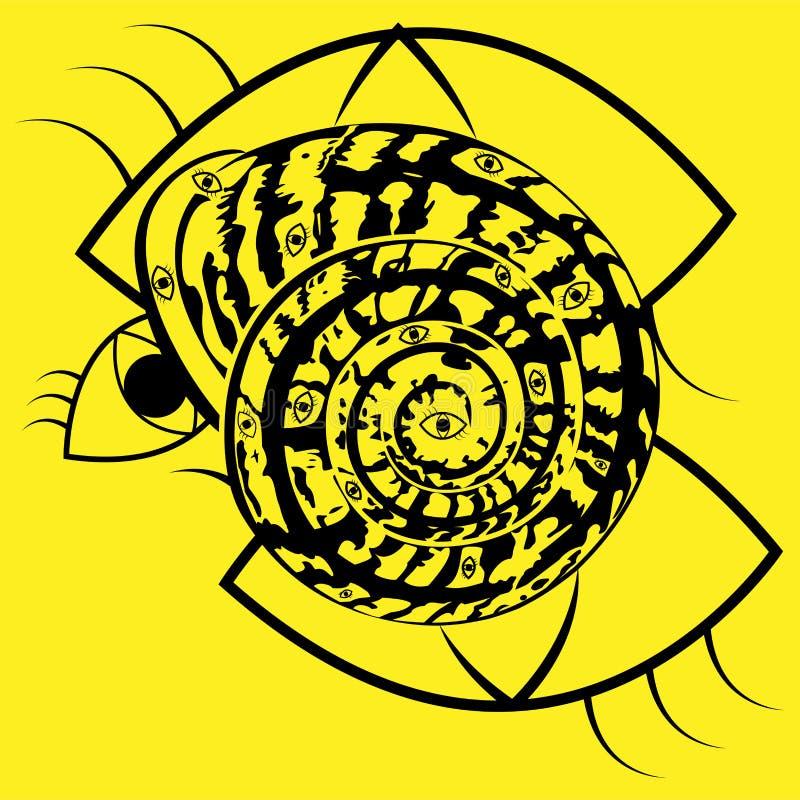 Coperture a spirale d'avanguardia con gli occhi su un fondo giallo illustrazione vettoriale