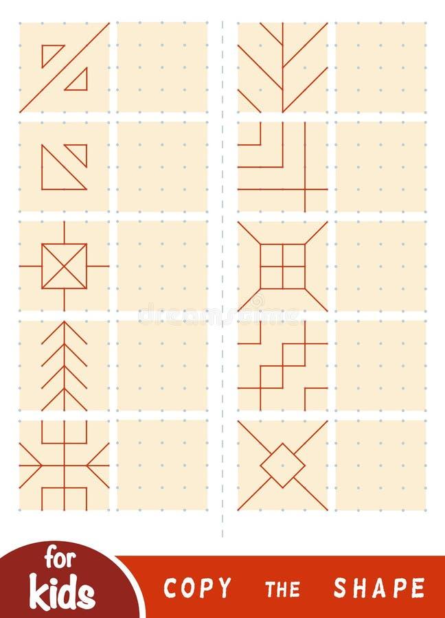 Copi l'immagine, gioco di istruzione per i bambini Estragga gli ornamenti geometrici e naturali illustrazione di stock