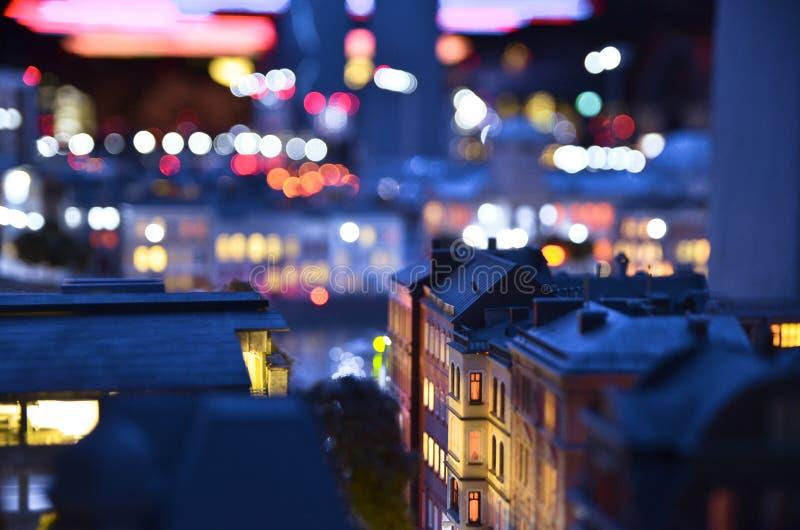 Copia artificial de St Petersburg en la noche foto de archivo libre de regalías