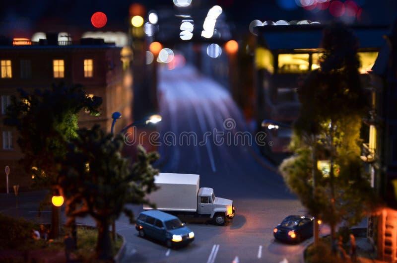 Copia artificial de St Petersburg en la noche fotografía de archivo