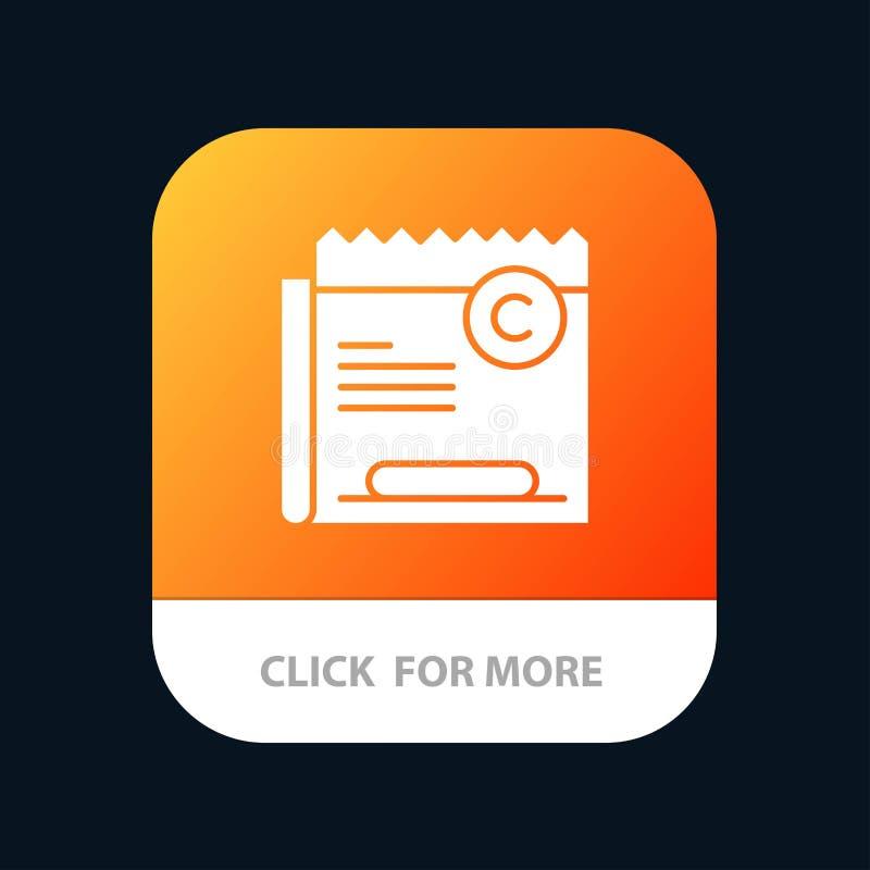 Copia, Copyright, restricción, la derecha, botón móvil del App del fichero Android y versión del Glyph del IOS stock de ilustración