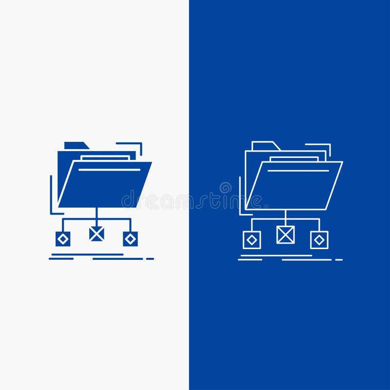 copia de seguridad, datos, ficheros, carpeta, botón de la web de la línea de la red y del Glyph en la bandera vertical del color  stock de ilustración