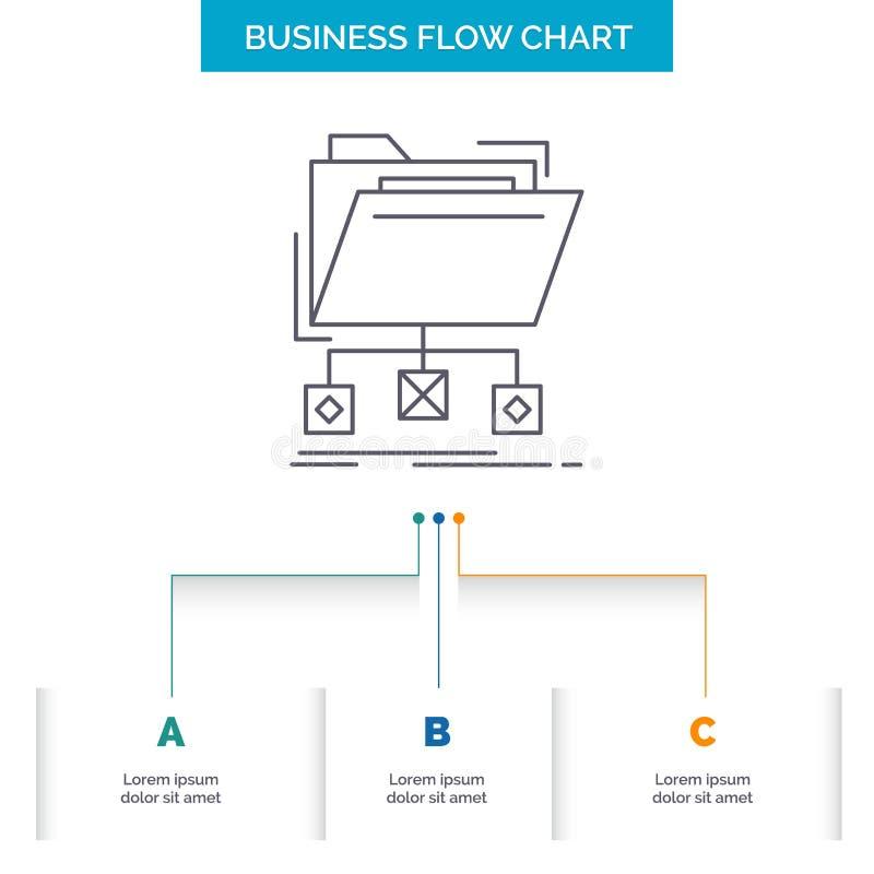copia de seguridad, datos, ficheros, carpeta, dise?o del organigrama del negocio de la red con 3 pasos r libre illustration