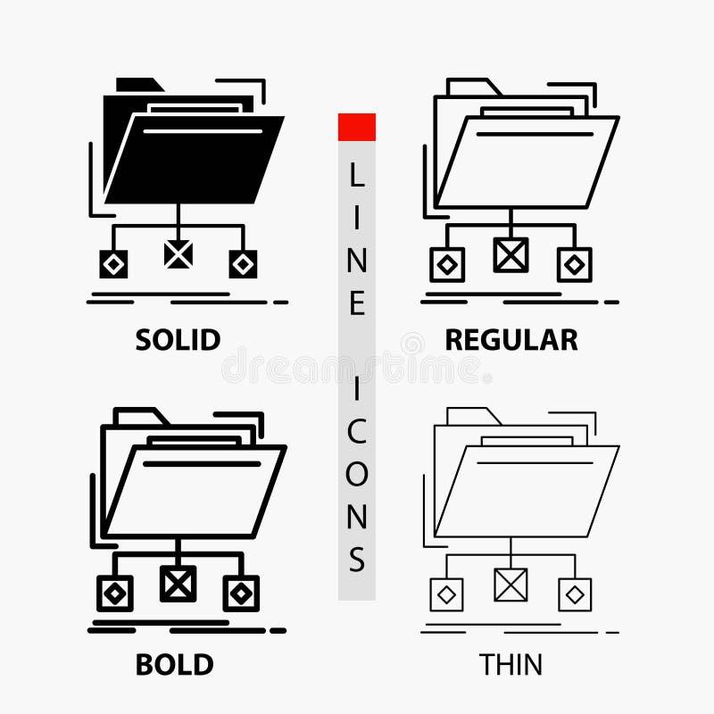 copia de seguridad, datos, ficheros, carpeta, icono de la red en línea y estilo finos, regulares, intrépidos del Glyph Ilustraci? stock de ilustración