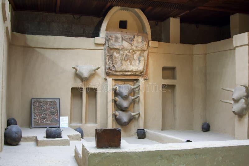 Copia del sitio de Catal Hoyuk en el museo de civilizaciones de Anatolia - foto de archivo libre de regalías