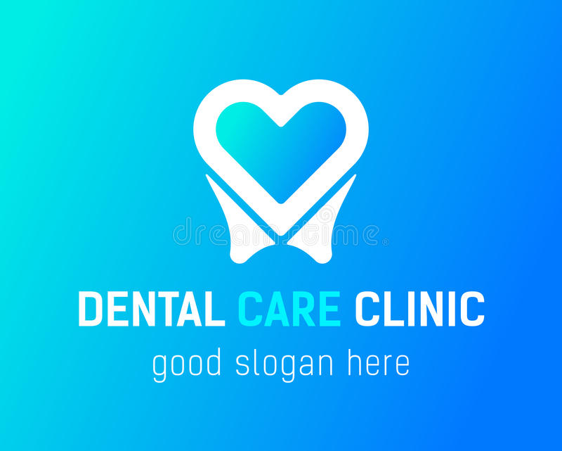 copia di Dente-cuore-logo illustrazione di stock