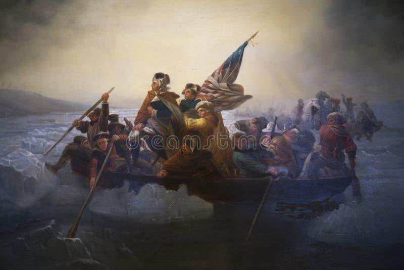 Copia di Washington Crossing il Delaware da Emanuel Leutze, Abbot Hall, Marblehead, Massachusetts, U.S.A. immagine stock libera da diritti
