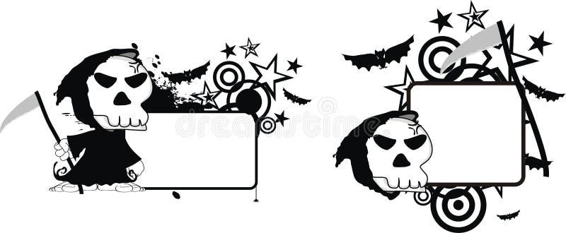Copia divertida space0 de Halloween de la historieta del segador de la muerte stock de ilustración