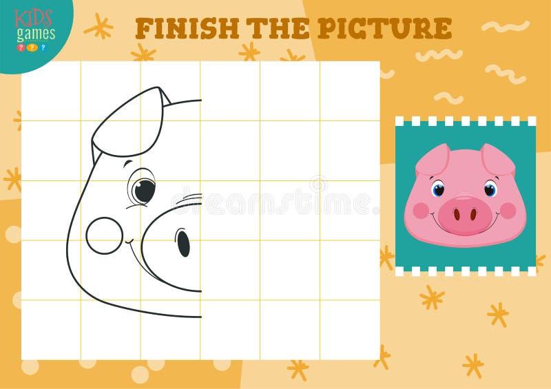 Copia ed illustrazione completa di vettore dell'immagine Come pareggiare mini gioco per i bambini prescolari illustrazione vettoriale