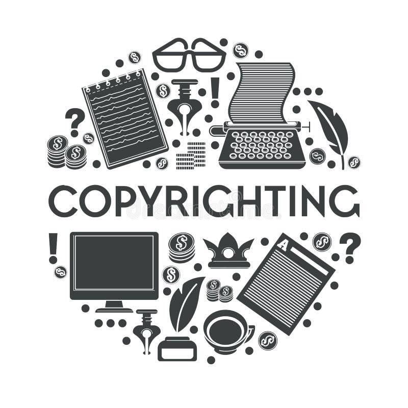 Copiando ícone isolado, escrita criativa, educação e gerenciamento de conteúdo ilustração do vetor