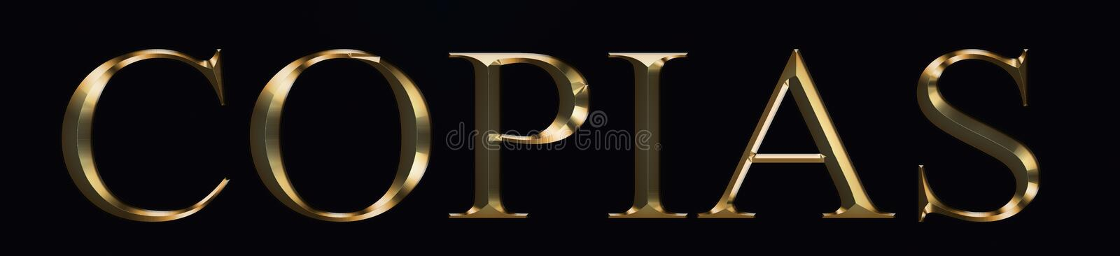 Copias text made from in gold on black background. Shiny festive party Gold font. stock photo