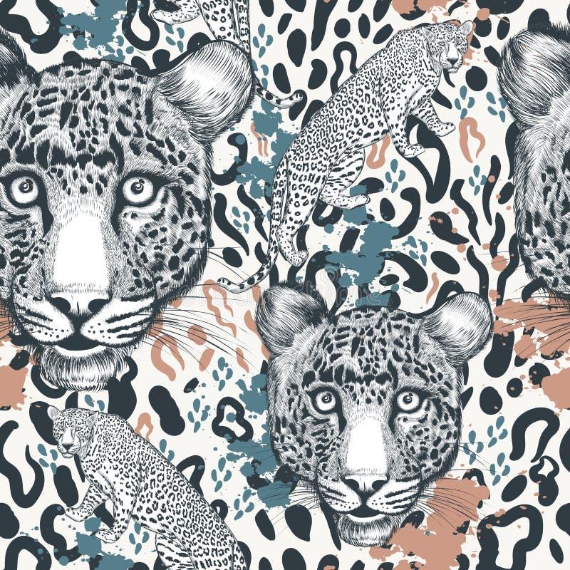 Copie animale avec l'ornement tacheté de léopard, papier peint, idéal de modèle pour des conceptions de textile illustration de vecteur