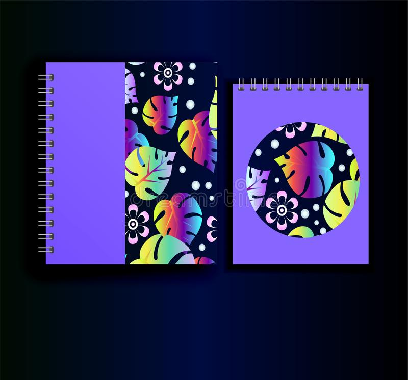 Copie au néon pour le planificateur et le journal intime Modèle de botanique illustration stock