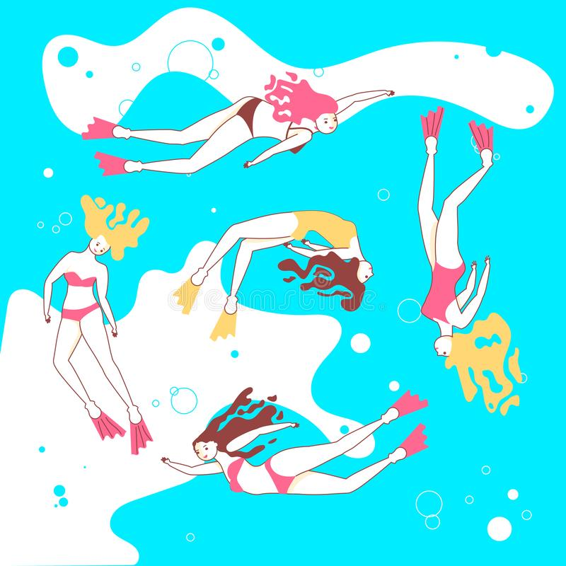 Copie avec de belles filles nageant la mer illustration de vecteur