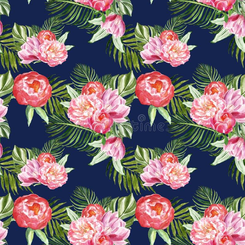 Copie botanique d'été avec les feuilles et les fleurs tropicales vertes sur le fond de bleu marine Mod?le sans couture d'usines e illustration de vecteur