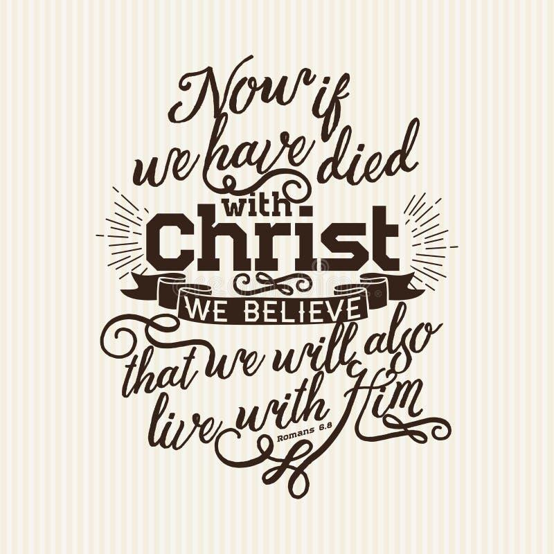Copie chrétienne Maintenant si nous sommes morts avec le Christ nous croyons illustration stock