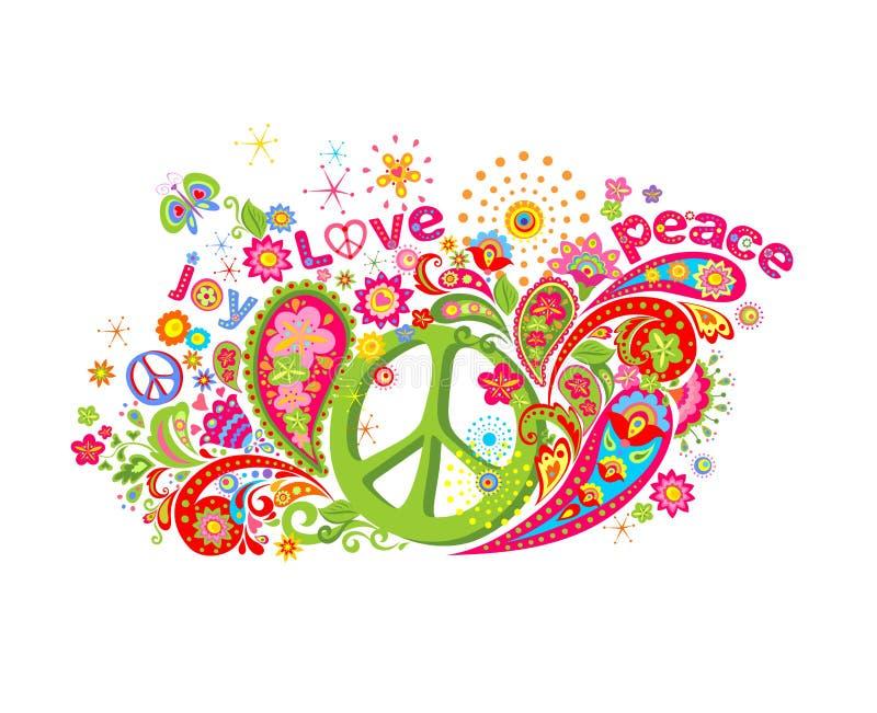 Copie colorée psychédélique avec le symbole de paix hippie, le flower power, l'amour, le mot de paix et de joie, le papillon et P illustration stock