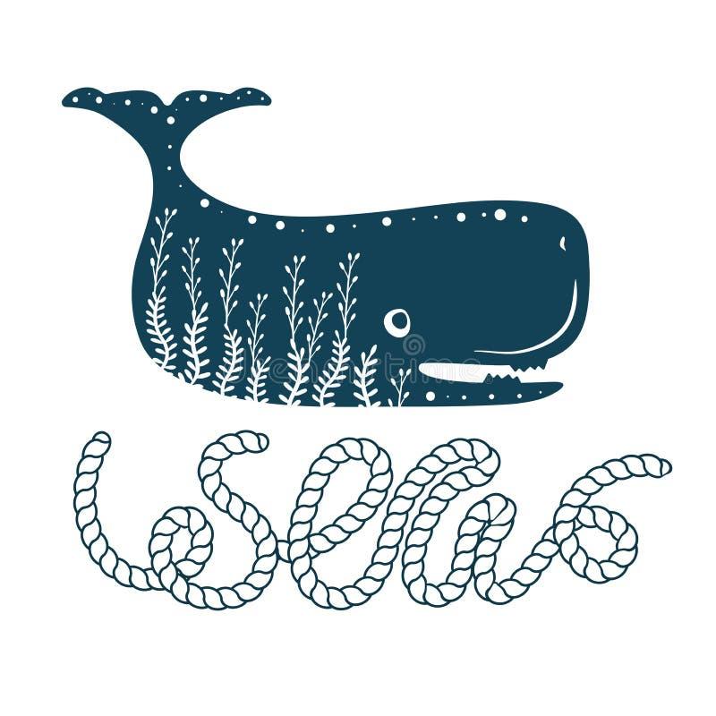 Copie dénommante simple de baleine de mer Couleur deux Lettrage de citation avec la corde de mer Copie pour des souvenirs de styl illustration libre de droits