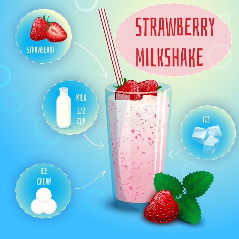 Copie d'affiche de recette de milkshake de smoothie de fraise illustration de vecteur