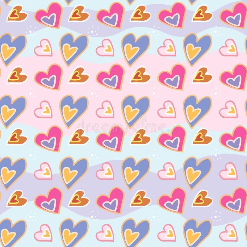 Copie d'amour Modèle décoratif avec les coeurs tirés par la main Configuration sans joint de vecteur illustration stock