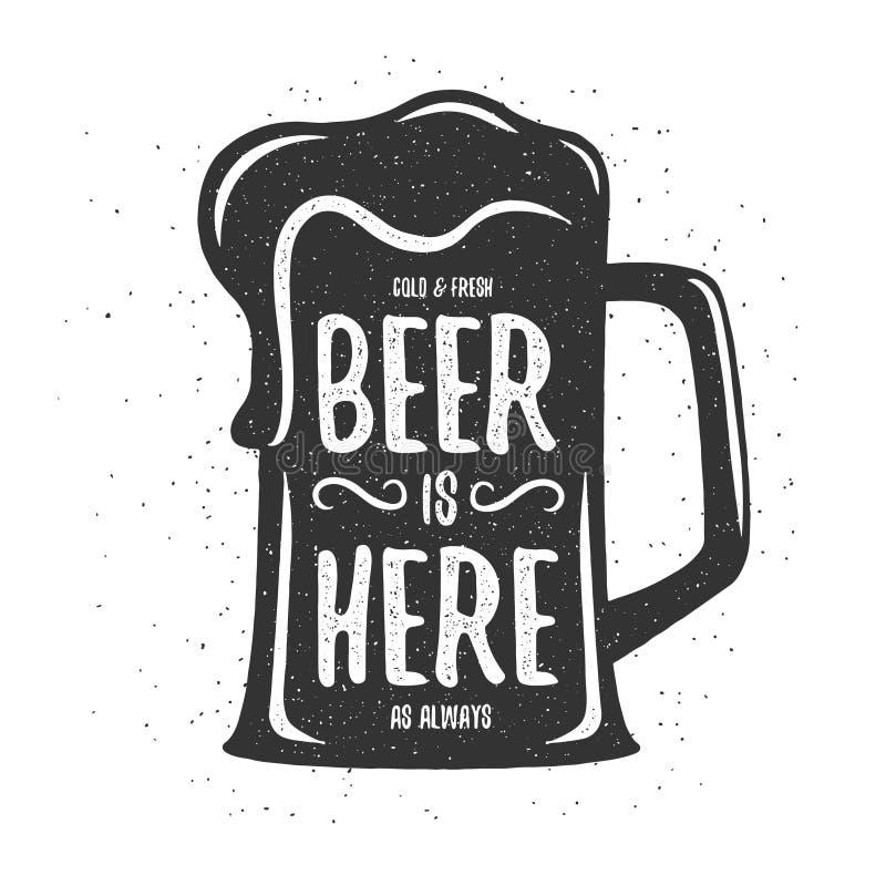 Copie de bière de vintage de vecteur T-shirt, conception d'affiche illustration stock