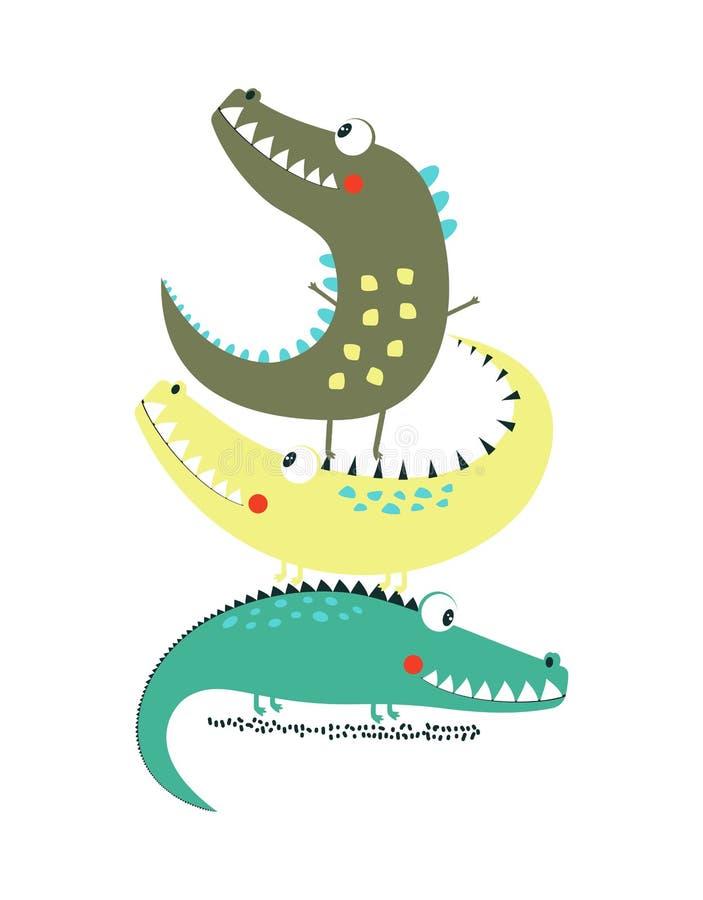 Copie de crocodile de bande dessinée illustration libre de droits
